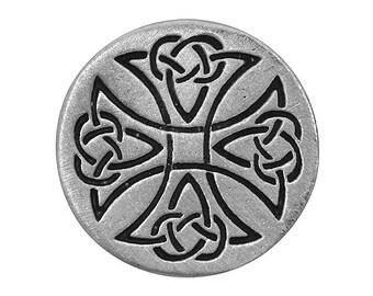 2 Maltese Celtic Cross 1 inch ( 24 mm ) Pewter Buttons