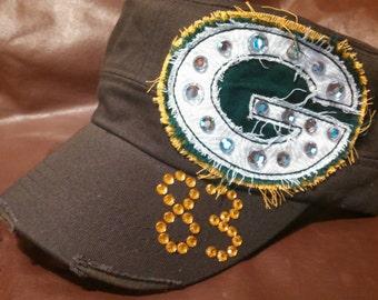 Frayed Green Bay Packers football Cadet Military hat Womens ANY#