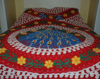 Red Vintage Cotton Chenille Blue Peacock Bedspread Very PLUSH ~~ExCelLeNt~