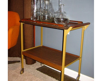 Mid Century Two Level Rolling Bar Cart /Tea Table with Walnut & Brass Finishes. Modern Retro Serving Cart