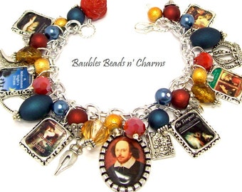 William Shakespeare Charm Bracelet, Shakespeare Jewelry, Literary Charm Bracelet Jewelry, Writers Charm Bracelet, Books Bracelet