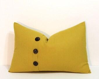 Mustard yellow lumbar pillow cover, button pleat accent, linen blend home decor accent