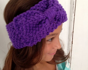 Little Girl KNIT HEADBAND   Girl with Big Bow Knitted Head Band Earwarmer, Knit Headband, Girl Bow Headband