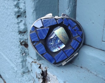 Blue Mosaic Heart Make Up Mirror, Fused Glass Heart Compact Mirror