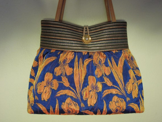 Pleated Bag/Shoulder Purse, Colorful and Durable, Handmade From French Silk Brocade Fabric in Royal Blue Color with a Puffed Floral Pattern