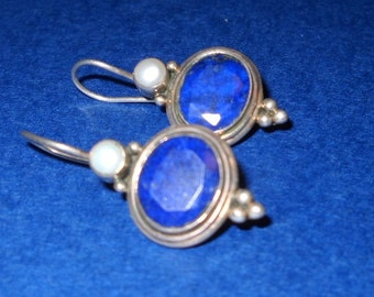 Sterling Sliver, Lapis, and Pearl Earrings