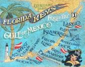 Key West  retro beach style  map   Print,florida art