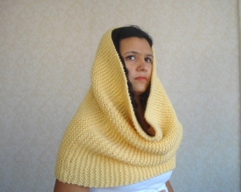 knit wool cowl soft yellow mustard Large Warmer, Huge Chunky Infinity Scarf Shawl hood hooded snood, gift for her, christmas gifts for woman