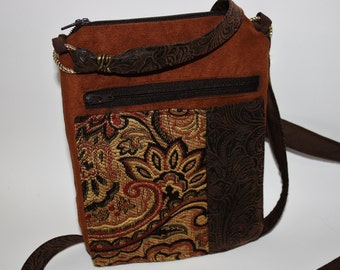 Crossbody Got It All Bag Rouge - Suede, Tapestry, Double Zipper, Handmade, Original Design