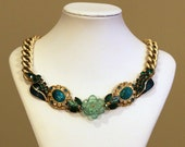 Gold, Turquoise Blue and Green Vintage Bib Necklace