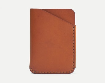 DHK GOODS 2-Pocket Card Wallet  - Tan oily leather. Handmade leather card holder