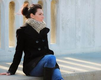 Oatmeal linen flecked crochet cowl neckwarmer scarf warm winter accessory gift for her Christmas woman women neck bulky wool yarn custom