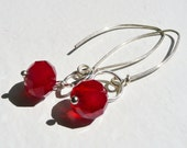 Blood Drop Wire Wrapped Earrings