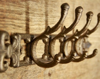 Cast Iron wall hook, French country hat rack, Shabby chic coat rack, French country wall hooks, fleur de lis hooks