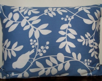 Periwinkle blue and white print lumbar pillow cover