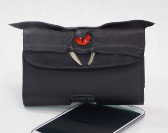 Black Leather Cell Phone Case With Eyes Face Galaxy S3/S4