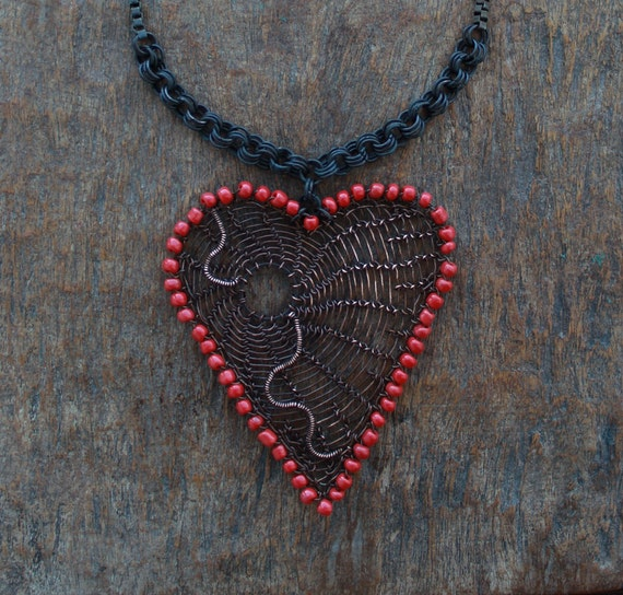 BIG HEART Copper Wire Crocheted Statement Pendant Necklace with Red Beads