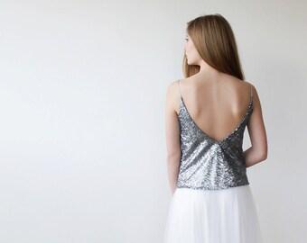 Sequin Silver top, Open back silver sequin top