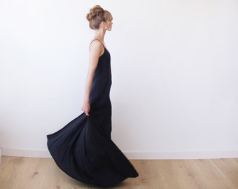 Black maxi straps dress, Maxi black casual dress 1026
