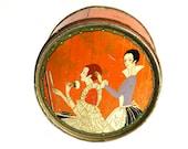 PAIR Antique Hudnut Tins Three Flowers Powder Boxes Cosmetics Advertising Tin Art Nouveau Deco Ephemera Antique Boho Collectibles c1920s