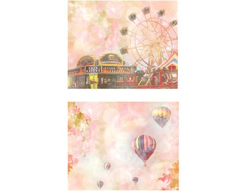 Set of Two Nursery Photographs - Kids Room Decor - Ferris Wheel - Balloon Race - Hot Air Balloon Photo - Nursery  Art - Baby Shower Gift