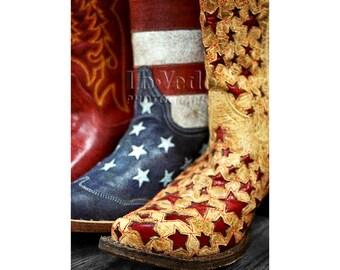Cowboy Boots Photo, Stars and Stripes, Western Art, Cowboy Decor, Boy's Room Decor, Americana