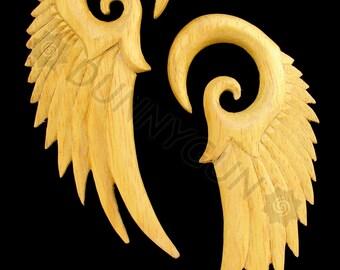 00G Pair Yellowheart Wood Seraphim Wing Gauged Plugs Organic Hand Carved Body Piercing Jewelry 00 gauge Earrings