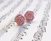 Handmade Polymer Clay Post Earrings // Victorian Inspired Medium LIGHT PINK ROSES