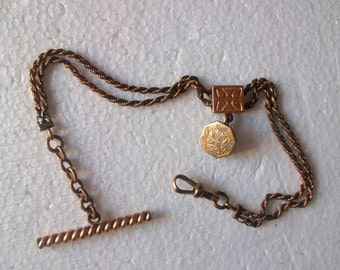 Antique Victorian gold filled pocket watch slide chain fob