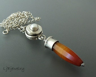 Silver Necklace, Statement Necklace, Agate Bead, Sterling Silver, Hollow Form, Pearl, Metalsmith, June Birthstone