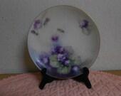 Vintage Havland Hand Painted Plate / Violets / Gold Trim / France / Mint- REDUCED
