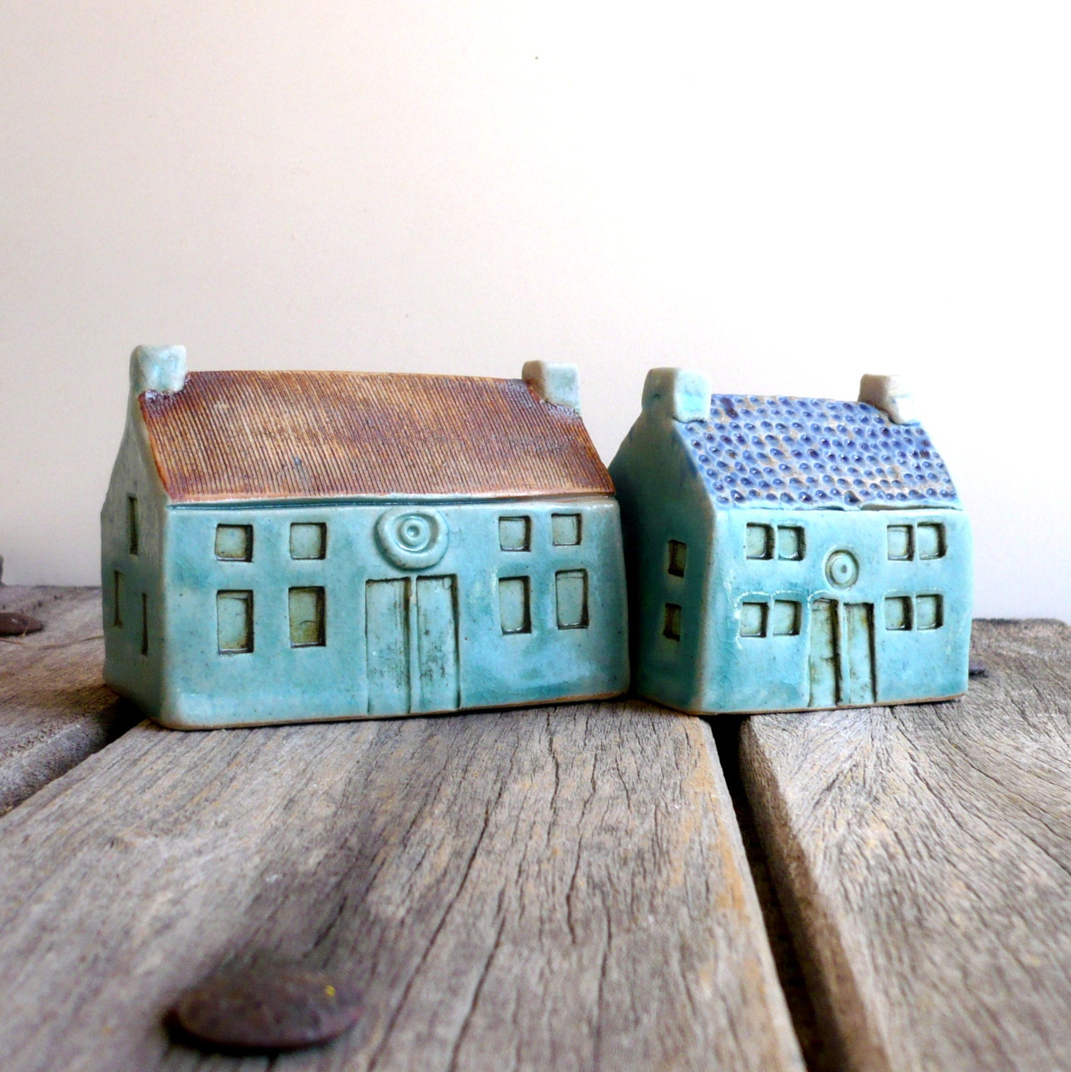 Ceramic Sculpture Turquoise Cottage Fall Gift