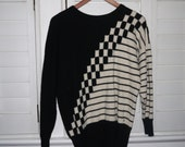 1980s or 1990s Black and White Mod Cashmere Sweater