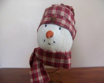 Primitive Snowman On Rusty Spring Nodder/Made Do Holiday Winter Decor