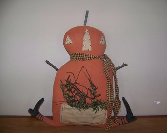 Primitive Pumpkin Man Shelf Sitter Halloween Decor