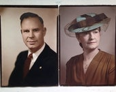 Vintage Hand Tinted Portrait Photography of Couple Man and Woman with Powder Blue Hat and Lace 1960s