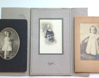 Vintage Little Girls and Curls Cabinet Cards Set of three Ephemera Found Photo with Vintage Bow
