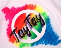 Rainbow Peace Custom Airbrushed T-shirt