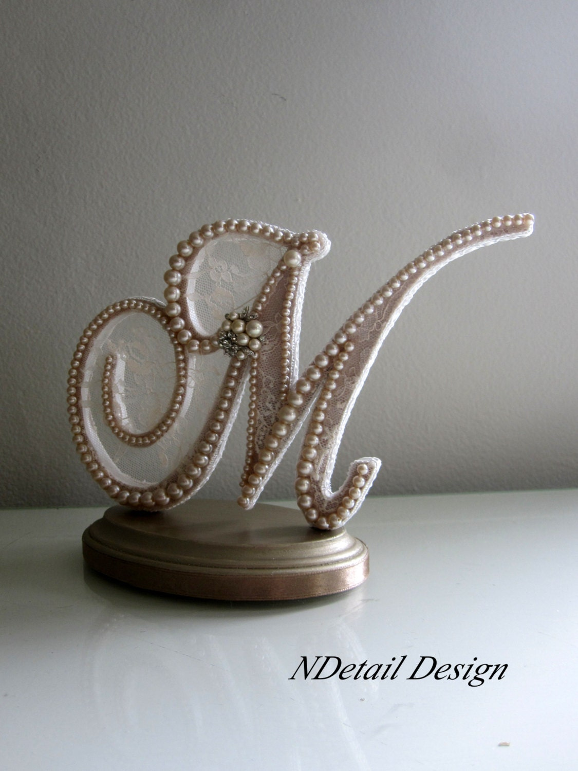 Monogram Wedding Cake Topper Custom Letter M in by
