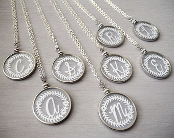 Initial Monogram Necklaces - Original Handcut Paper in Glass Pendants with Silver Chain - Papercut Jewelry