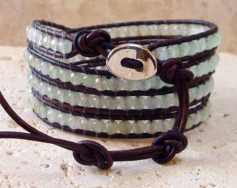 4mm Faceted Prehnite Beaded Leather 4-Wrap Bracelet
