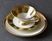 Vintage German Tea green cup saucer Mitterteich rose Dessert plate Bavaria German Ceramic porcelain decor