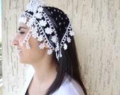 Black,White,Headband, Floral Cotton lace scarf,  Traditional TURKİSH Yemeni,Oya, Mothers day gifts,