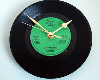 """MADNESS Vinyl Record CLOCK from recycled 7"""" single """"Baggy Trousers"""" Romantic Gift Fun Novelty 80s Vintage Vinyl"""
