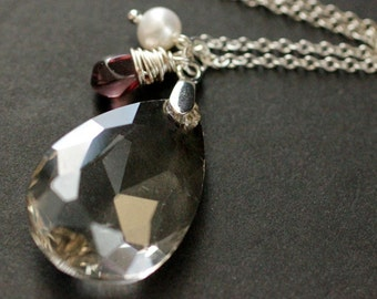 Crystal Necklace. Crystal Teardrop Necklace with Wire Wrapped Teardrop and Pearl. Crystal Teardrop Pendant. Crystal Pendant.