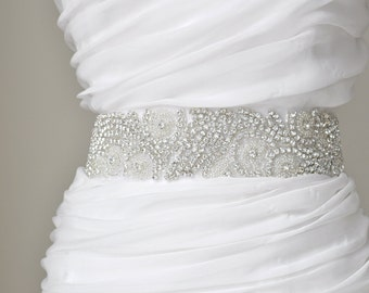 "2"" Bridal crystal belt, rhinestone sash, bridal sash, bridal belt"