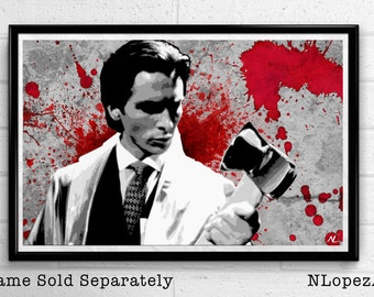 Patrick Bateman American Psycho Horror Film Pop Art Movie Poster Print #2 Canvas