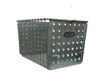 Vintage Industrial Wire Locker Basket -- Industrial Storage Basket