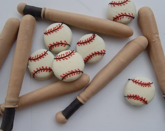 BAT AND BASEBALL Pretzels and Oreos chocolate covered peanut butter cookie birthday party favor softball little league gift by PlainOldeJane