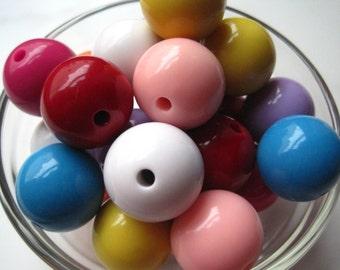 Big Gumball Beads, 24mm Beads, 4 pcs Mixed Lot, Bubblegum Bead, Acrylic Bead, Necklace Bead